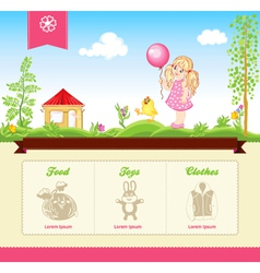 Kid template for web site vector