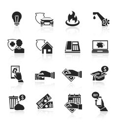 Pay bill icons black set vector