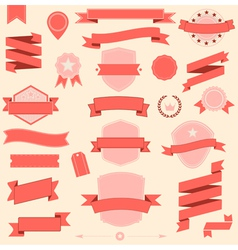 Big set retro design ribbons and badge vector