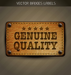 Genuine style leather label design vector