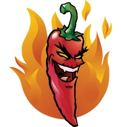Evil red chili pepper vector