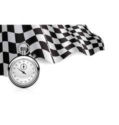 Checkered flag with a stopwatch background vector