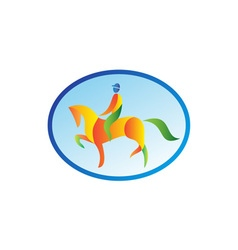 Equestrian rider dressage oval retro vector