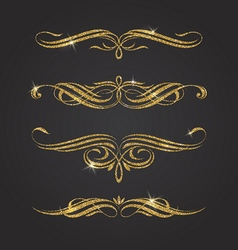 Glitter gold flourishes design elements vector