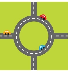 Road white marking and cartoon cars circle round vector