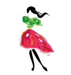 traditional girl vector image