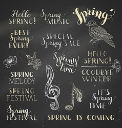 set of hand-written chalk spring lettering on vector image
