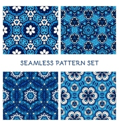 Set of blue winter seamless pattern vector