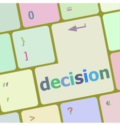 Decision button on computer pc keyboard key vector