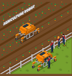 Agricultural robot isometric composition vector