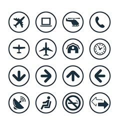 airport icons universal set vector image