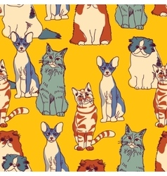 Cats group color seamless pattern vector image