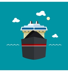 Dry cargo ship front view vector