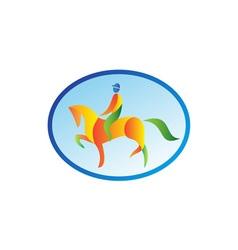 Equestrian rider dressage oval retro vector