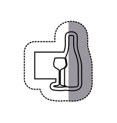 figure emblem wine bottle with glass icon vector image