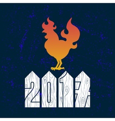 Fire rooster logo cock silhouette on blue vector