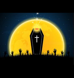 Halloween coffin moon graveyard thunderbolt vector