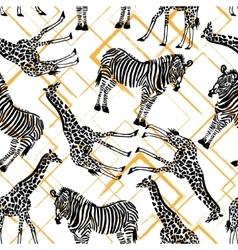 Hand drawn seamless pattern with zebra giraffe on vector image