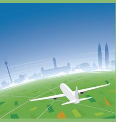 Kuala lumpur skyline flight destination vector
