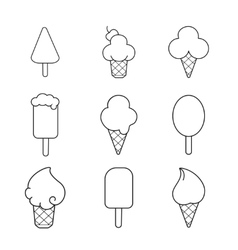 Line ice cream icons set vector image vector image