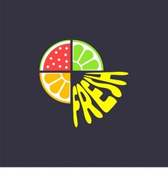 logo with pieces of fruits and word fresh vector image