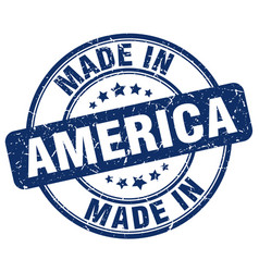 made in america blue grunge round stamp vector image vector image