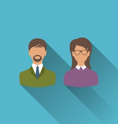 male and female user avatars Flat icons with long vector image vector image