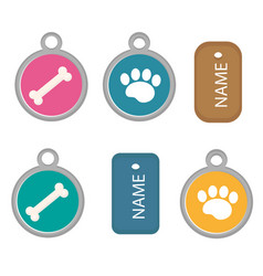 medallion dog tag set of icons flat cartoon vector image vector image