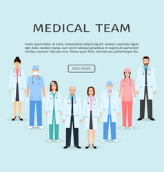 medical team group of flat men and women doctors vector image