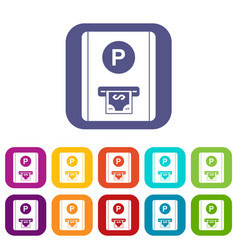 Parking fee icons set vector