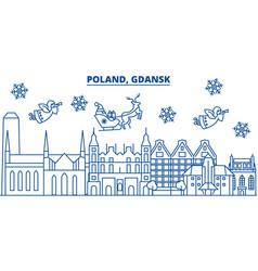 Poland gdansk winter city skyline merry vector