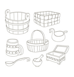 Rustic wooden utensils vector