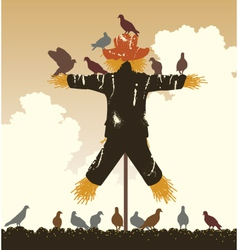 Scarecrow pigeons vector image vector image