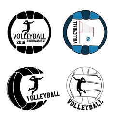 set volleyball logo for the team and the cup vector image