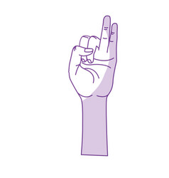 Silhouette hand with pinky and ring finger up vector