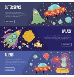 Space theme cartoon banners collection vector