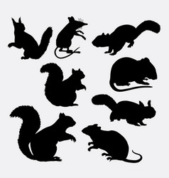 squirrel and mouse mammal animal silhouette vector image vector image