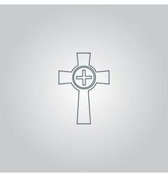 Tombstone - cross gravestone icon vector