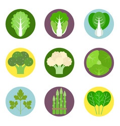 Vegetables flat icons set 1 vector