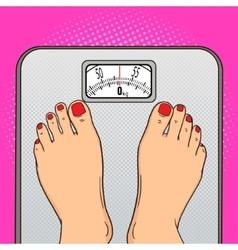 Woman feet floor scales pop art style vector image