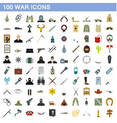 100 war icons set flat style vector