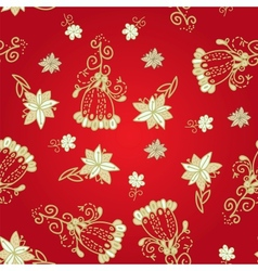Vintage red floral seamless pattern vector image