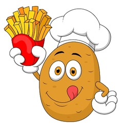 Potato chef holding up a french fries vector