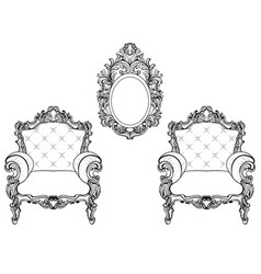 Rich imperial baroque rococo furniture and frames vector