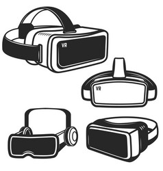 Set of virtual reality glasses icons isolated on vector