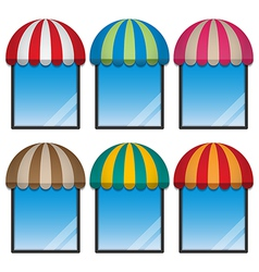Round awning and display window vector