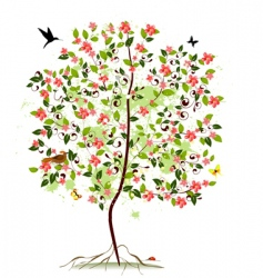 Apple blossom tree vector