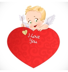 Cute cupid with a big red valentine card isolated vector