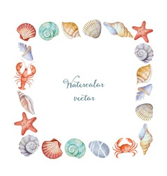 Watercolor square frame of sea shells vector