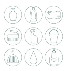 Cleaning products flat icon set vector